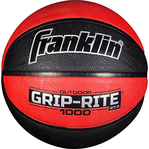 Franklin Sports Grip-Rite 1000 Youth Basketball - Durable Basketball - Junior Size Basketball for School, Camp, Home Basketball Practice - Indoor and Outdoor Basketball - Black/Red -27.5