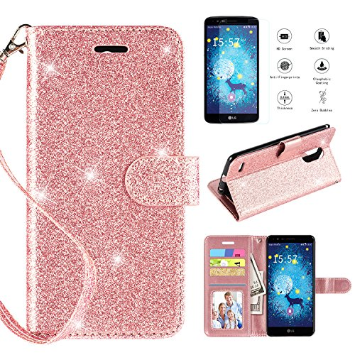 LG Stylo 3 Case,LG Stylo 3 Plus,LG Stylus 3,LG LS777 Case w [Screen Protector], [Kickstand][Card Slots] [Wrist Strap] 2 in 1 Glitter Magnetic Flip PU Leather Wallet Case Compatible LG Stylo 3,Rosegold