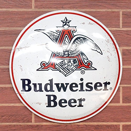 Budweiser Beer Anheuser Busch King Of Beers 16  White Dome Metal Sign