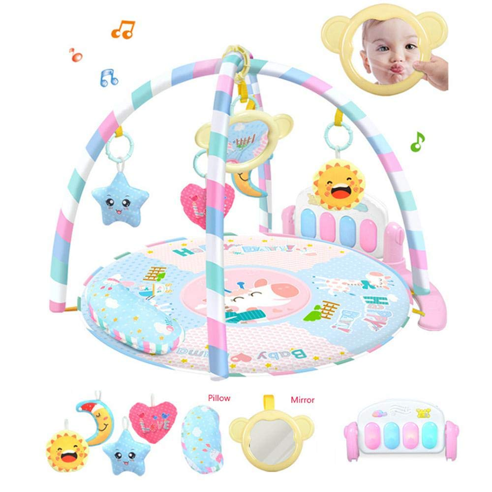 Kick and Play Baby Mat,UMIWE Activity Gym Play Mat for Infant 0 ,with 5 Activity Sensory Toys,Detachable Piano,Pillow,Soft Tummy Time Mat for 0-18 Month Boys and Girls.
