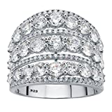 Sterling Silver Round Dome Openwork Cubic Zirconia Dome Ring
