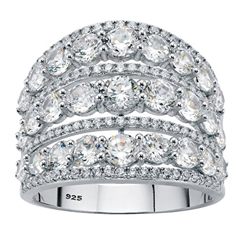 Cubic Zirconia Silver Dome Ring - Sterling Silver Round Dome Openwork Cubic Zirconia Dome Ring Size 8