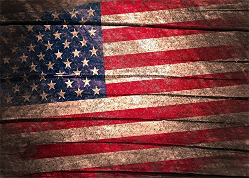 (Leowefowa 10X8FT American Flag Backdrop Independence Day Backdrops for Photography USA Stars and Stripes Wood Floor Wallpaper Vinyl Photo Background Kids Adults National Day Party Studio Props)