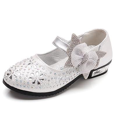 93c1b0fe4f0aa SITAILE Enfant Sandales pour Fille Chaussures de Ceremonie Princesse  Ballerine Paillettes Noeud avec Diamants pour Mariage