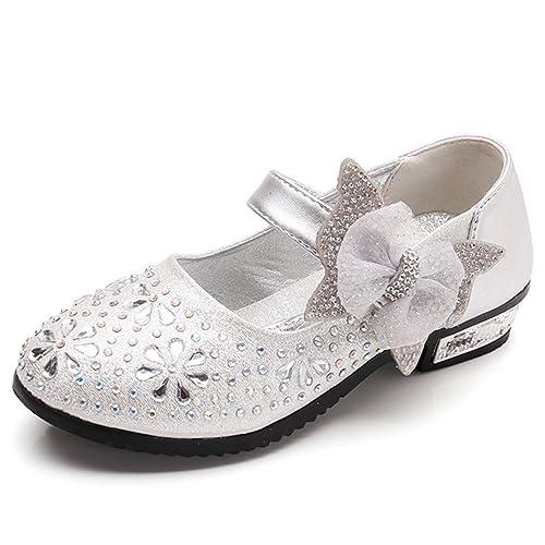 93c5a7d1cafc0 SITAILE Bambina Eleganti Principessa Scarpe di Cristallo per Ragazze Festa  di Compleanno Scarpe Basse Sandali Bowknot