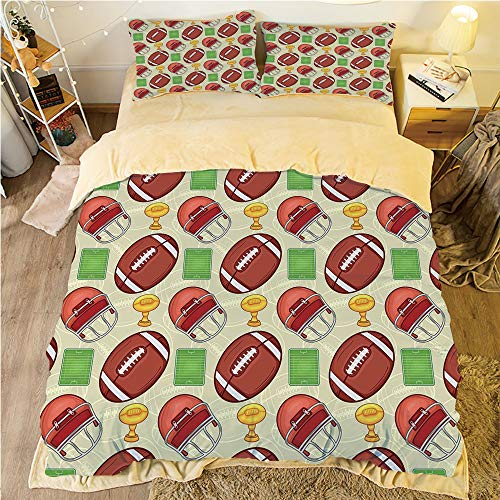 - Flannel 4 pieces on the bed Duvet Cover Set 3D printed for bed width 4ft Pattern Customized bedding for boys and young children,Football,Equipment Icons Arena Helmet Ball Trophy Cup Winning the Champi