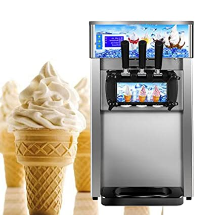 Enshey Commercial Ice Cream Machine 18L/H Food Grade 304 Stainless Steel 3 Flavor Hard
