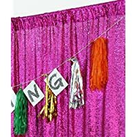 TRLYC 4FTx7FT Sparkly Fushia Pink Wedding Party Sequin Backdrop Sequin Curtain
