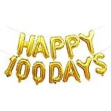 アルミ箔 風船 100日間 結婚記念日 ベビー誕生日 パーティー 壁の飾り 選べ - ゴールド