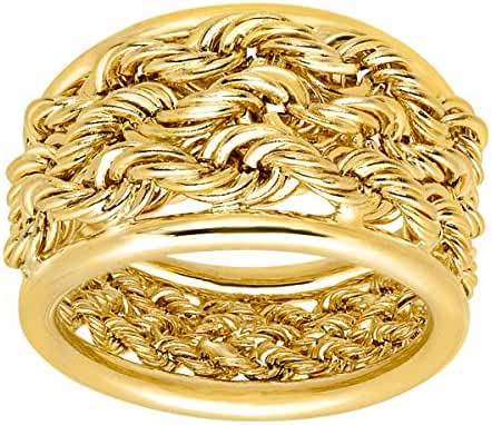 Just Gold Triple Rope Band Ring in 14K Gold