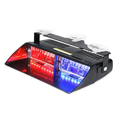 WOWTOU Emergency Strobe Dash Light 16W Red Blue LED with 18 Flash Patterns for Police Hazard Warning Cars POV Traffic Advisors: Automotive