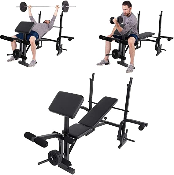 Preacher Curl and Weight Storage Gnogwa Multifunctional Workout Station Adjustable Olympic Workout Bench with Squat Rack Leg Extension 800-Pound Capacity