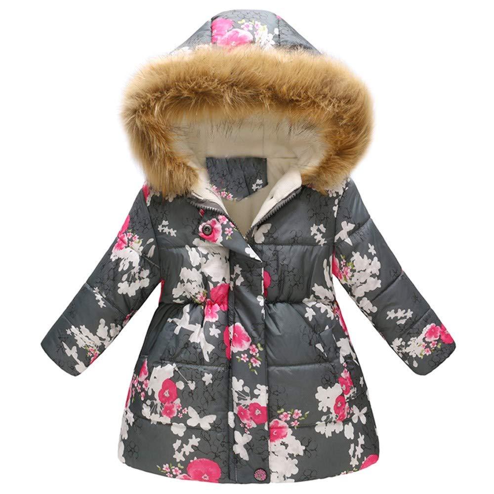 Baby Girls Hooded Snowsuit Winter Warm Light Fur Collar Hooded Down Windproof Jacket Outerwear Gray by PLENTOP