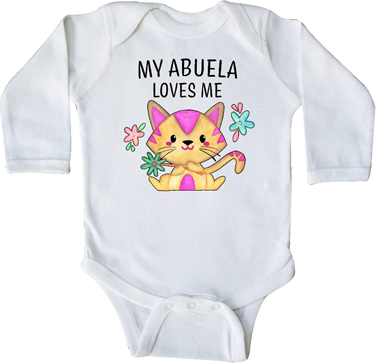 inktastic My Abuela Loves Me with Cute Kitten and Flowers Long Sleeve Creeper