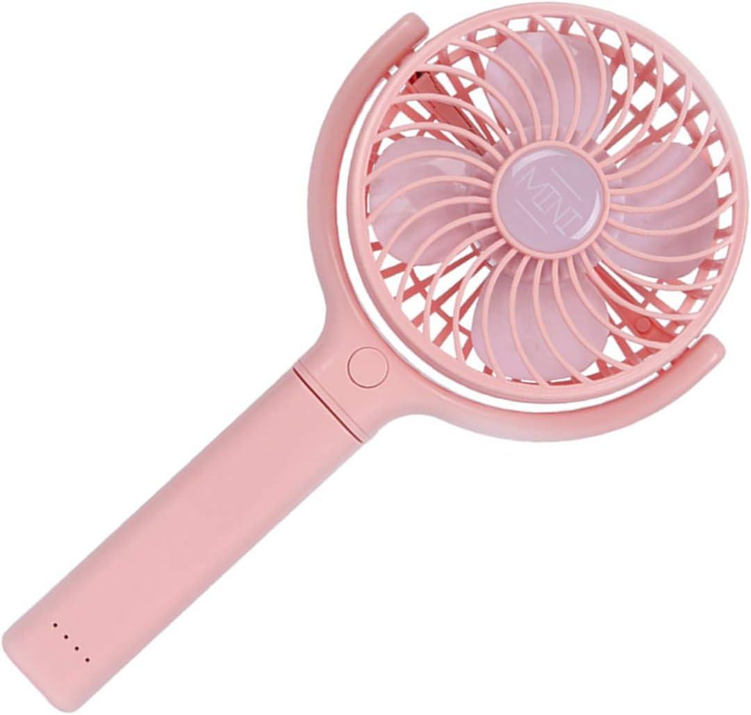 Pink STOBOK Mini Handheld Fan Cute 180 Degree Rotation Portable and Foldable Fan USB Cooling Personal Fan