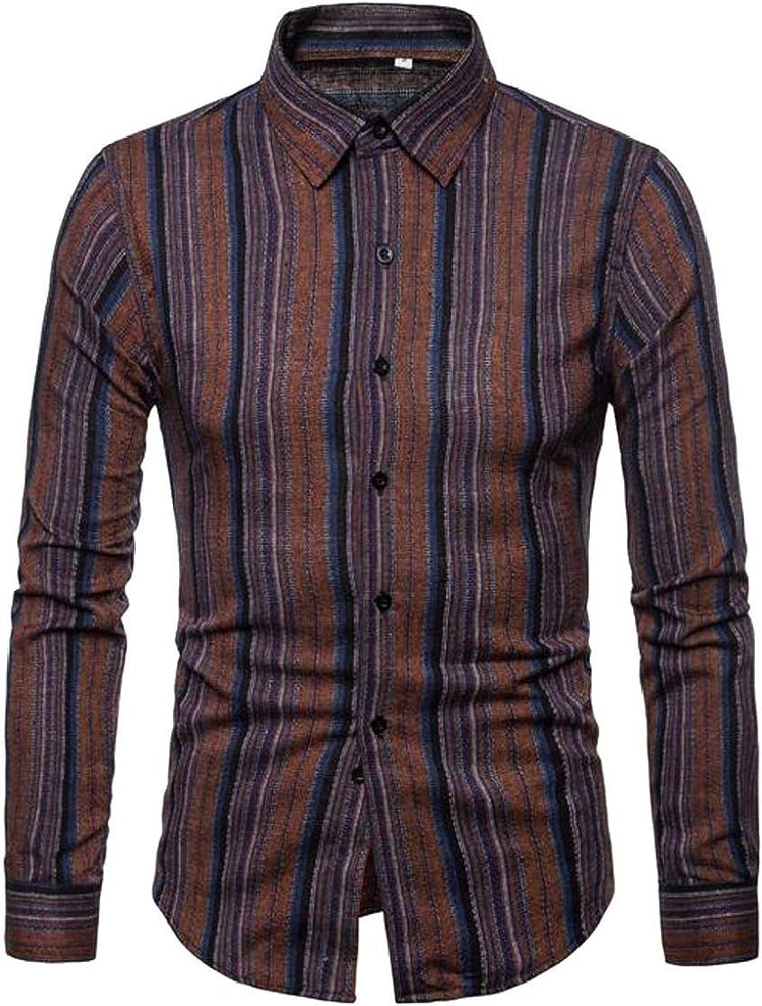 XiaoTianXinMen XTX Mens Long Sleeve Lapel Neck Curved Hem Striped Button Down Shirts