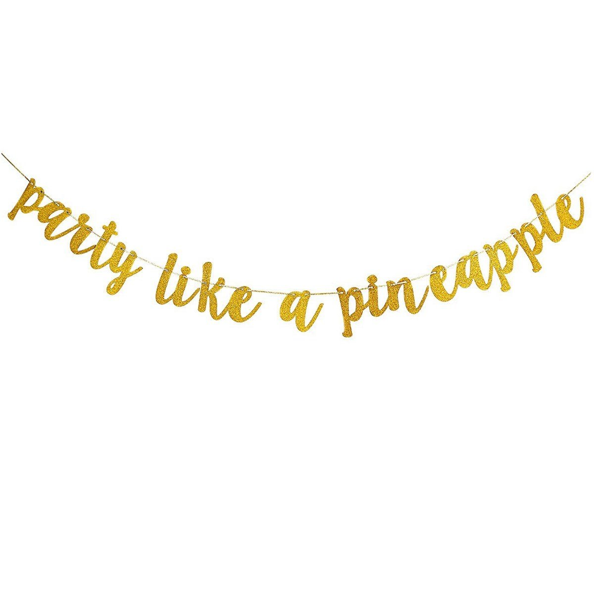 Gold Glittery Party Like A Pineapple Banner,Hawaiian Tropical Luau Beach Summer Theme Party Decorations Garland LeeSky PLP-80