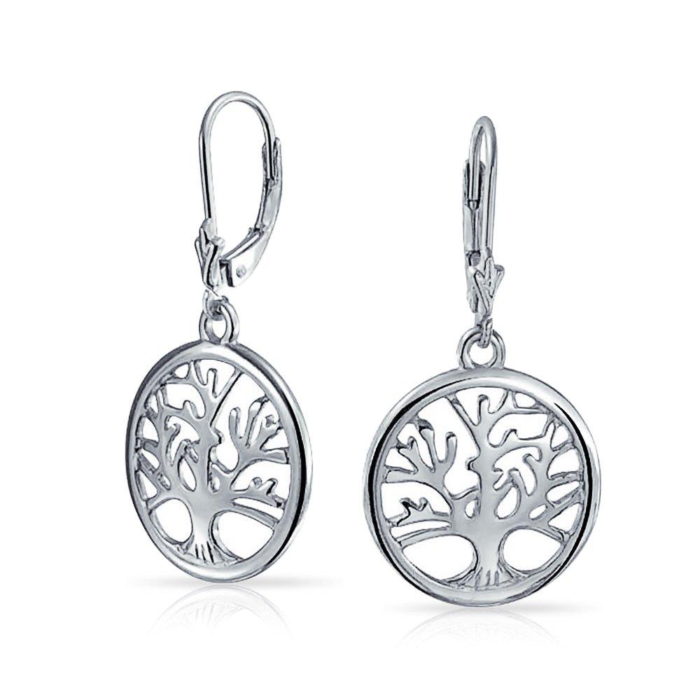 925 Silver Celtic Tree of Life Leverback Dangle Earrings Bling Jewelry PFS-12-5333