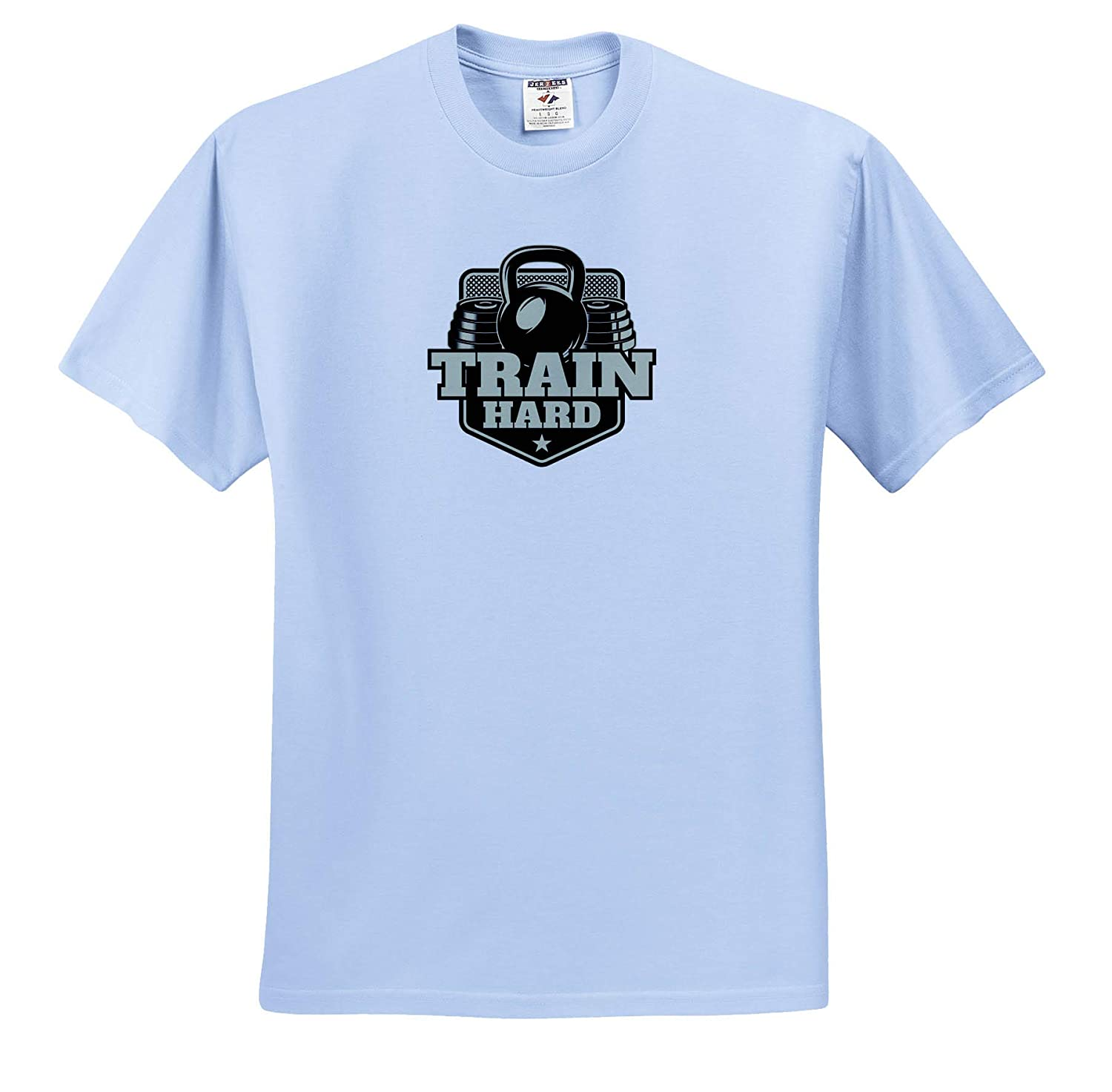 The Text Train Hard on White T-Shirts 3dRose Alexis Design Image of a Dumbbell and Weights Sport Fitness