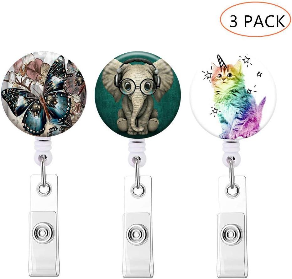3 Pack Beautiful Flower Color 3-1 3 Pack Badge Reel Retractable Badge Holder with Alligator Clip ID Card Holder Nursing Badge Reel Holder