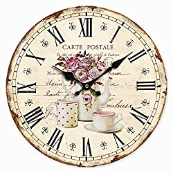 Telisha Retro Design Large Clock Flower Pot Coffee Tea Cup Home Decorative Wall Clock Wood 34CM 13.4