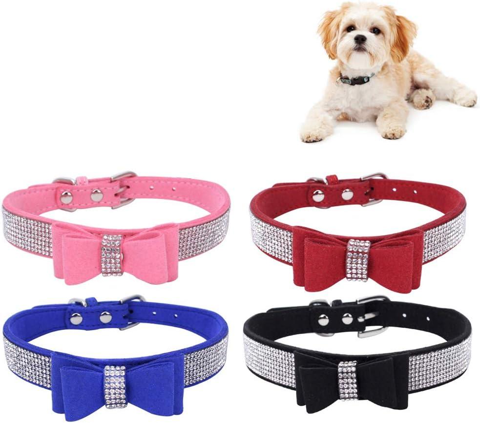 ペット首輪 可愛い蝶結びの 犬 首輪 ラインストーン装飾 犬の首輪 調節可能、4色セット