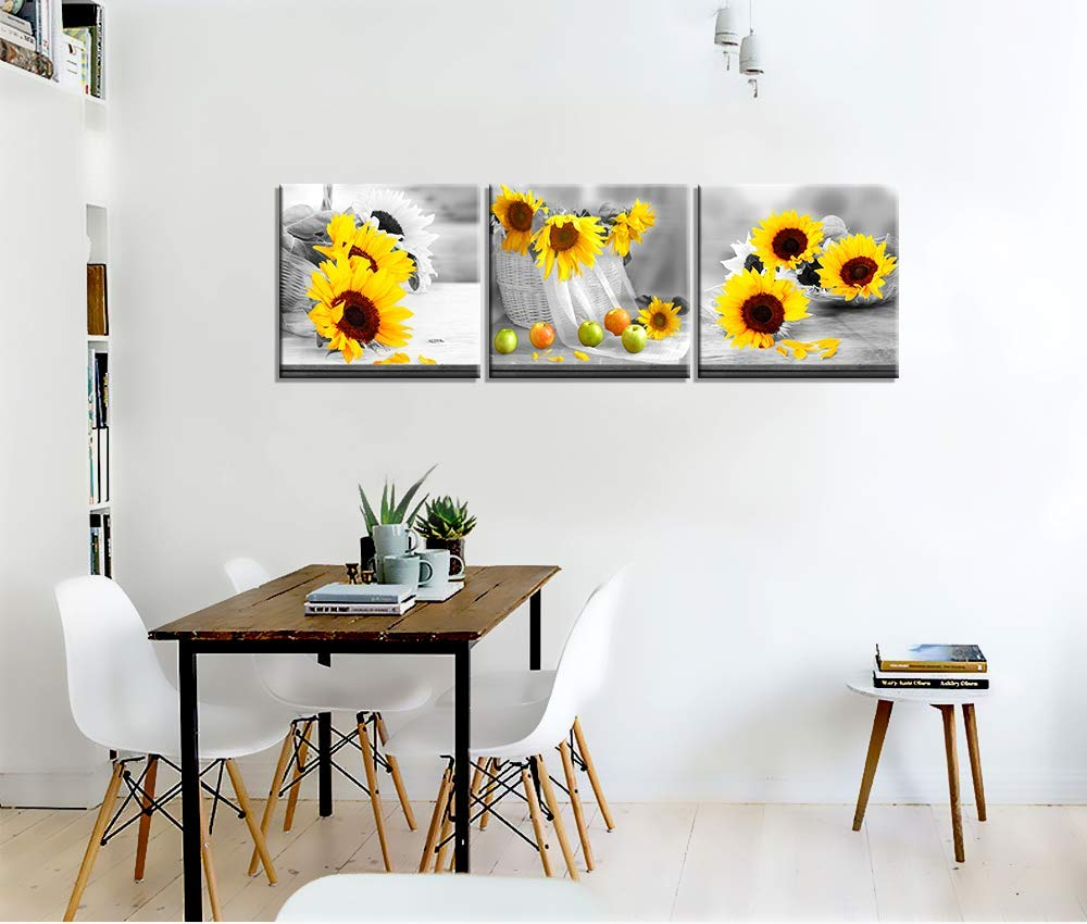 Canvas Wall Art for Bedroom Simple Life Black and White Yellow Sunflower Artwork Wall Decor 12 x 12 3 Pieces Framed Canvas Prints Watercolor Giclee with Black Border Ready to Hang for Home Decor