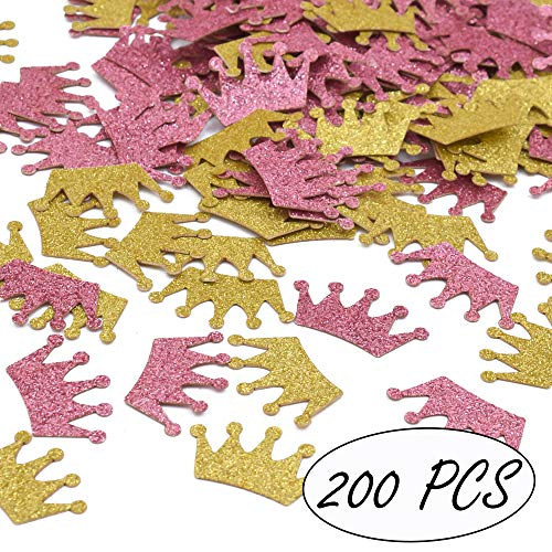 Princess Theme Party Confetti Crowns Glitter Confetti Girls Birthday Baby Shower Decorations, Pink and Gold, 200ct ()