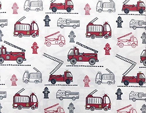 Max Studio Kids Bedding 3 Piece Twin Size Single Bed Cotton Percale Sheet Set Fire Trucks Hydrants Red Black White
