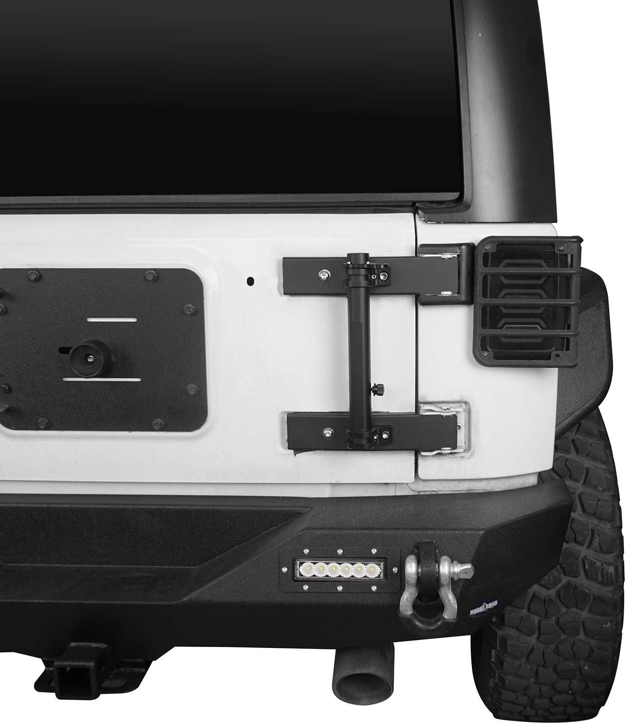 Hooke Road Tailgate Hinge Mounted Single Flag /& Antenna Holder Kit for Jeep Wrangler JK 07-18