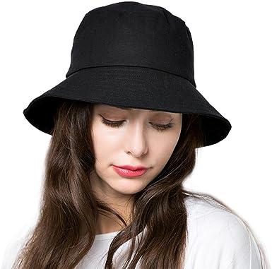 Bucket Sun Hat Women Cotton Hats Teens Girls Wide Brim Floppy Summer Beach  Fisherman's Caps UPF 50+ UV Packable (A1-Black) at Amazon Women's Clothing  store