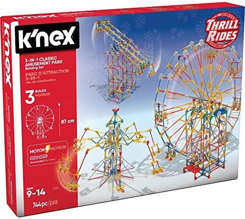 K'NEX Thrill Rides – 3-in-1 Classic Amusement Park Building Set, Multicolor
