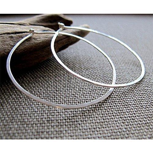 Amazon.com  Flat Hoop Earrings - Hammered Sterling Silver Hoops - Modern  Classic Hoop Earrings - Lightweight Hoops - Elegant hoops for women   Handmade 5dc3e3e44