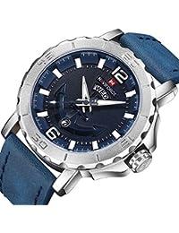 Sport Watches for Men Silver Blue Waterproof Quartz Wrist...