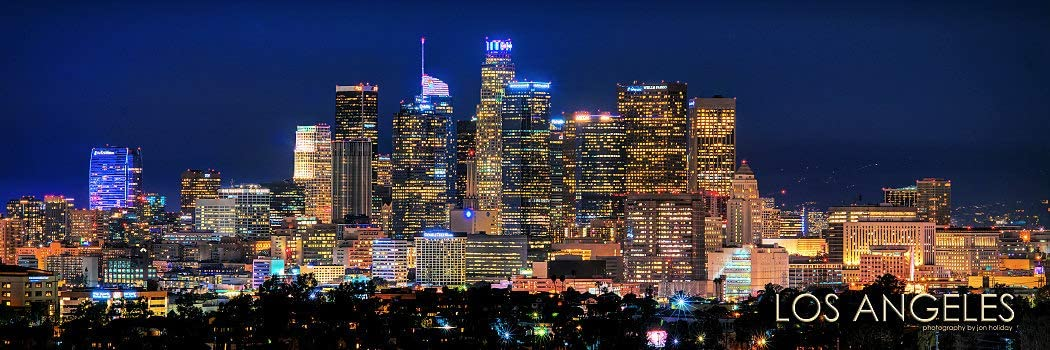 Los Angeles Skyline 2019 Photo Print UNFRAMED Night Color LA 11.75 inches x 36 inches Photographic Panorama Poster Picture Standard Size
