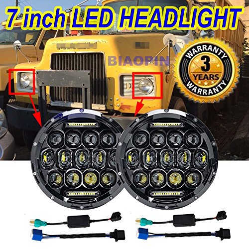 7' Round Headlamp Conversion (Pair 7'' Round Headlights For Mack R Series Volvo With Factory 2 Round Sealed Beam Headlamp, H6024 H5024 H6012 H6014 H6015 H6017 LED High Beam / Low Beam / DRL Conversion Kit)