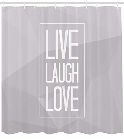 Ambesonne Live Laugh Love Shower Curtain Greyscale Polygonal Pattern Background With Rectangular Frame Quote