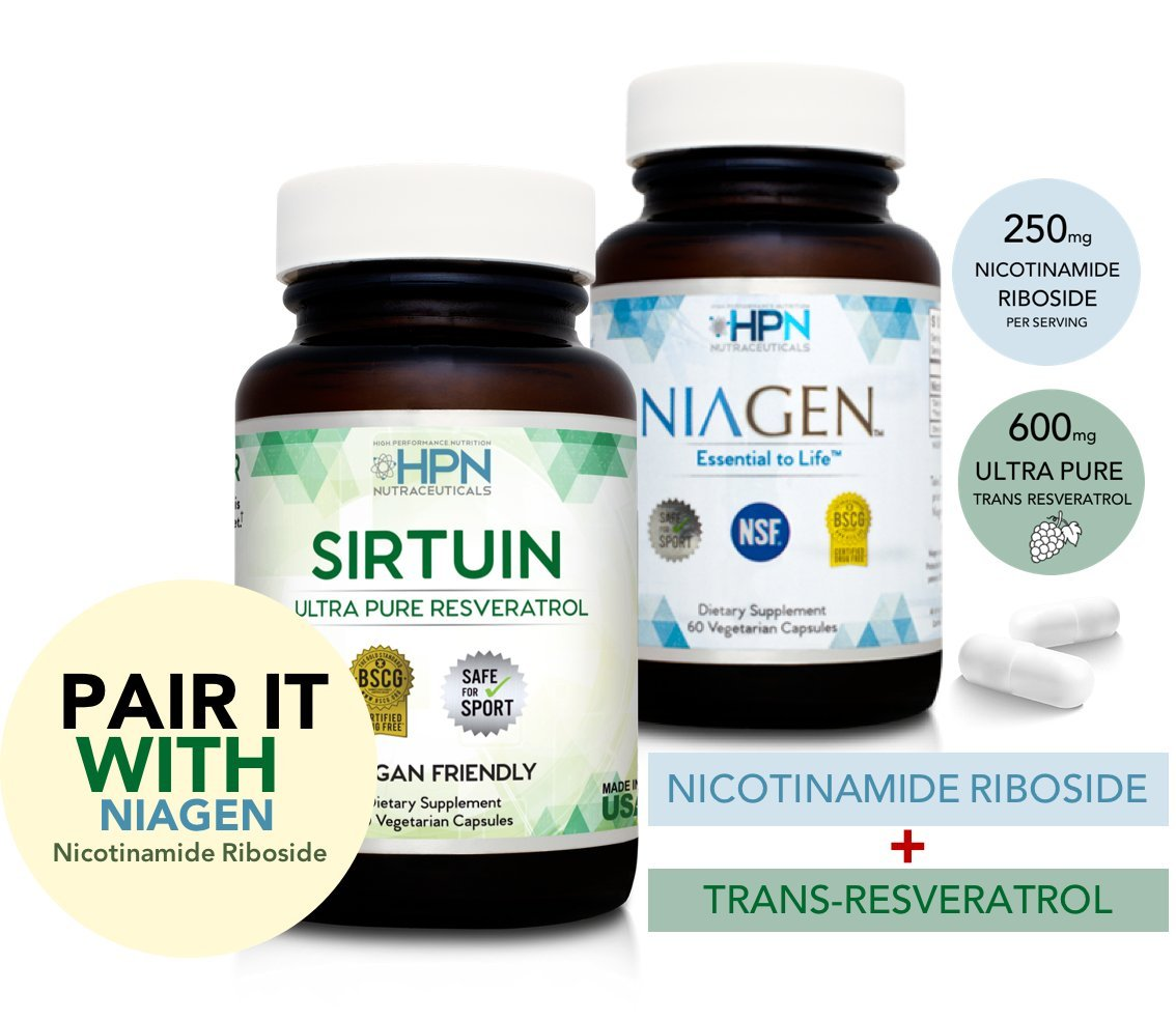 HPN Nutraceuticals SIRTUIN, 98% Ultra Pure Trans-Resveratrol Extract, Sirtuin Activator, 600 mg of 98% Trans-Resveratrol Extract, 30 Capsules by HPN Nutraceuticals