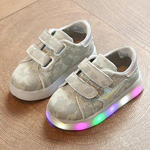 Muchachos del niño Niños zapatos del LED - luz linda del diseño que destella encima de las zapatillas de deporte hibote gris