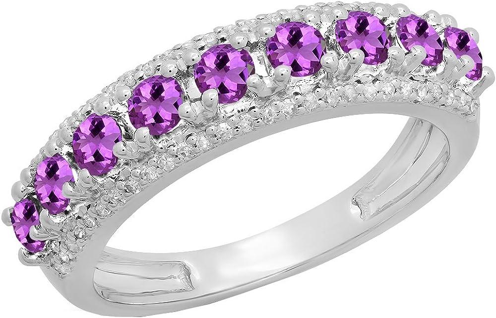 Dazzlingrock Collection 14K Round Gemstone & White Diamond Ladies Anniversary Wedding Stackable Band, White Gold