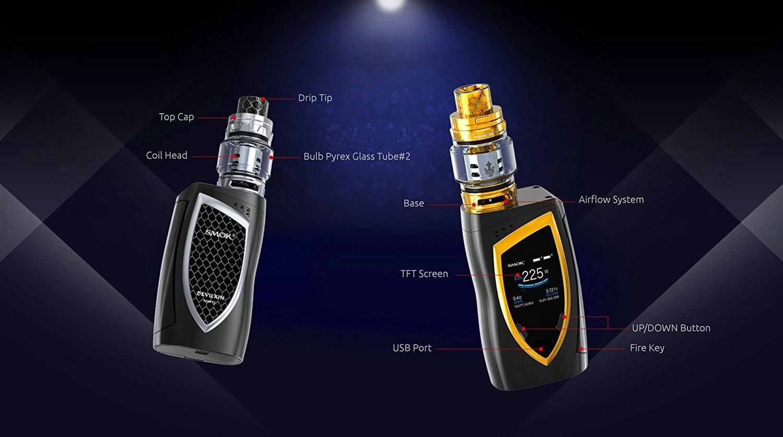 SMOK Devilkin Cigarrillo electrónico 225W TC VW Mod con TFV12 Prince 8ml TPD Tank - Kit Para Principiantes y Todos - Sin Nicotina (Negro/Dorado): Amazon.es: ...