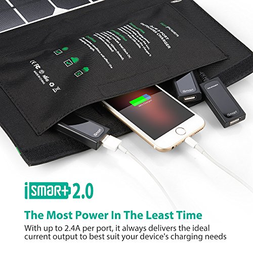 RAVPower Solar Charger 28W Solar Panel with 3 USB Ports Waterproof Foldable Camping Travel Charger Compatible iPhone X 8 7 6 Plus, Ipad Pro Air Mini, Galaxy S9 S8 Note 8, Nexus, LG, HTC and More