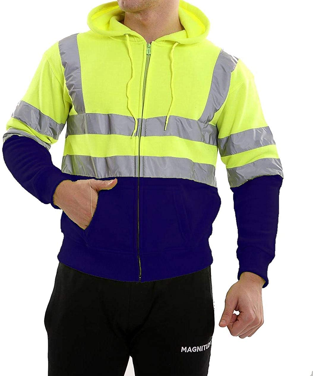 RIDDLED WITH STYLE Hi Vis Viz High Visibility Jacket Men Zip Up Reflective Fleece Hoodie Sweatshirt