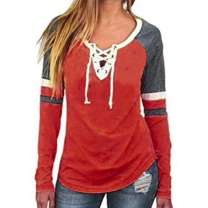 Image Unavailable. Image not available for. Color  Clearance On Sale  Litetao Womens Lace up Front Long Sleeve Tops Striped ... f14008147