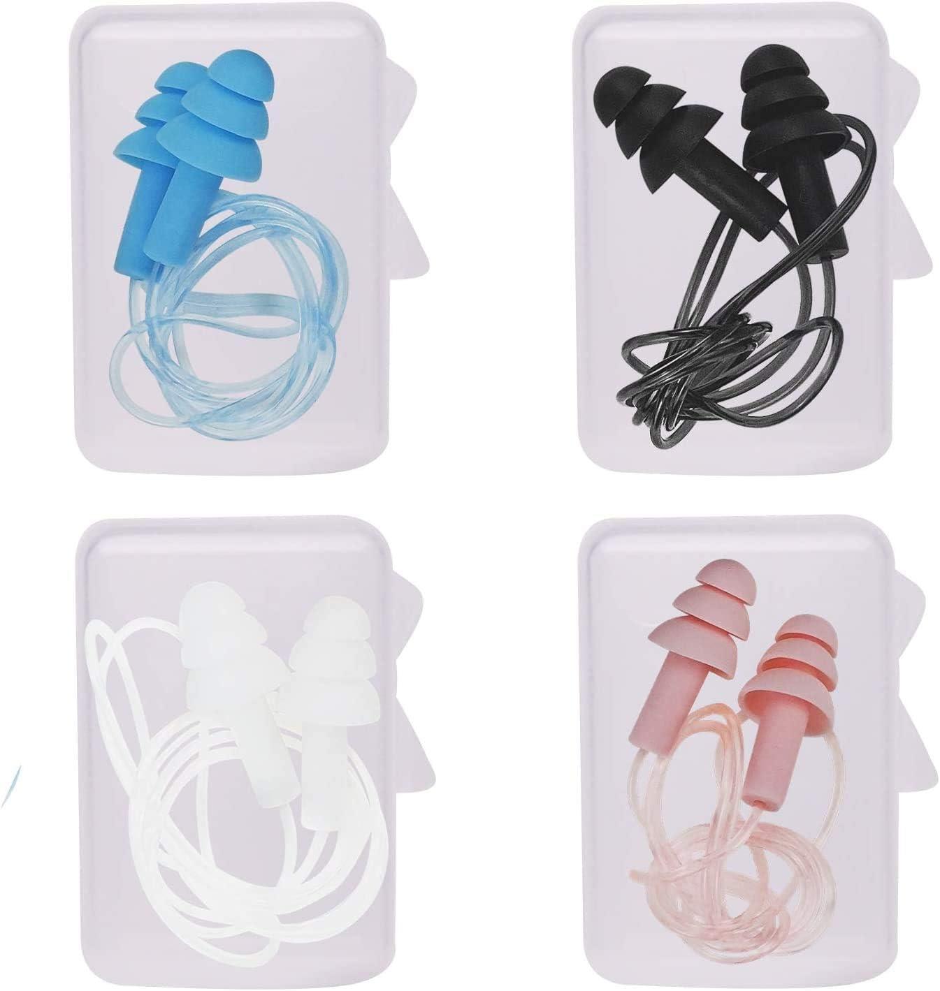 Tapones para los o/ídos de silicona blanda y resistente al agua nadar con cancelaci/ón de ruido protecci/ón auditiva de alta fidelidad para dormir reutilizables trabajar viajar. concierto