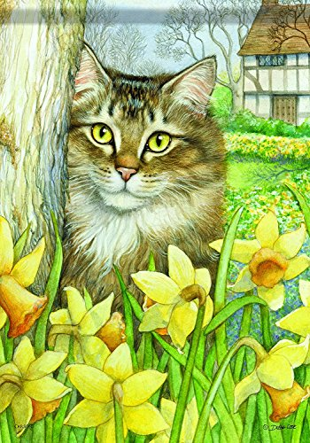 Aric Home Accents Garden Flag, Daffodil Cat