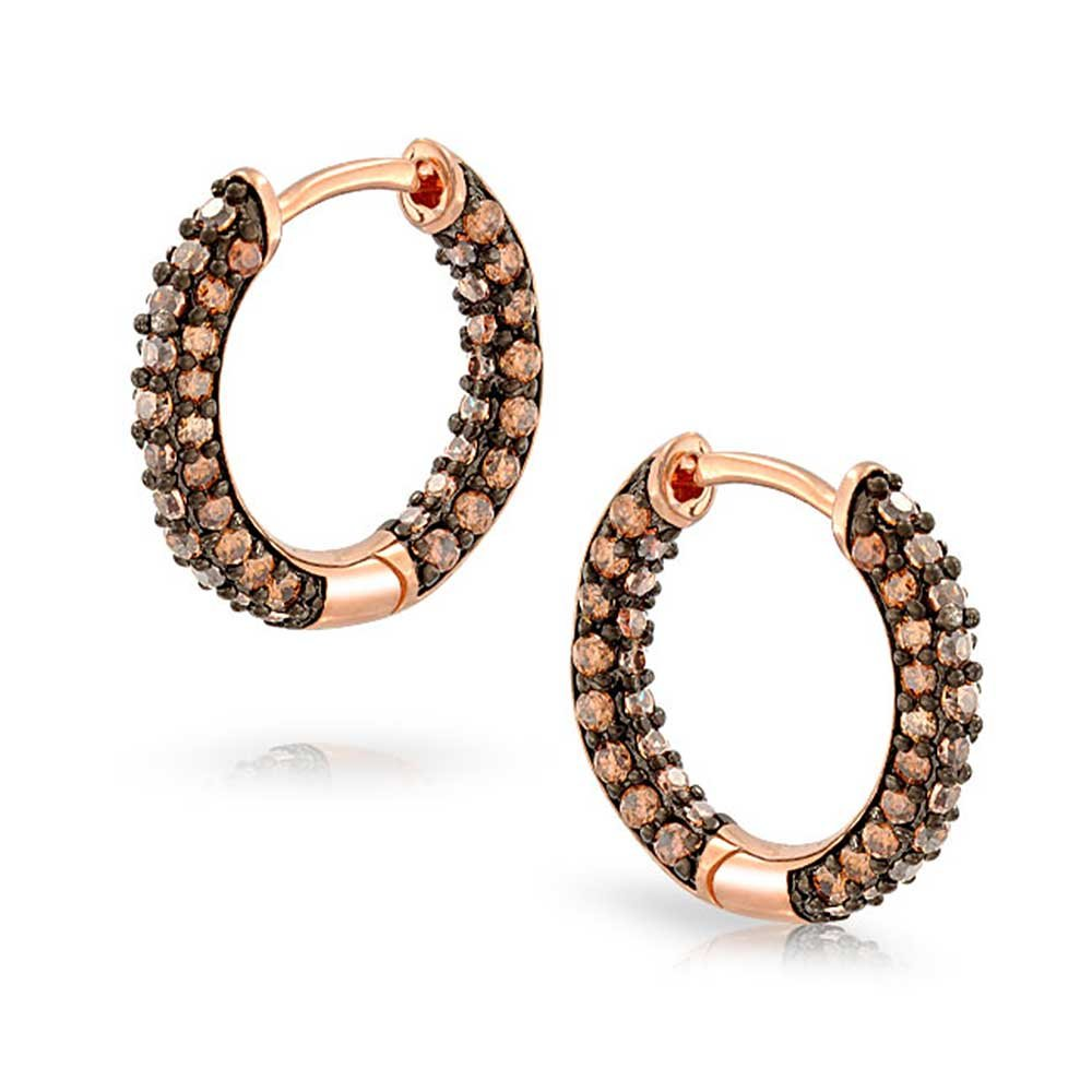 Pave Brown Coffee CZ Inside Out Small Tube Huggie Hoop Earrings For Women Cubic Zirconia Rose Gold Plated Brass