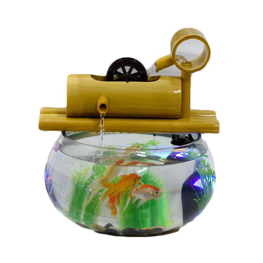 Mishap Creative Goldfish Bowl, bambú Hecho de Fuente de Agua, pequeños Adornos, se Puede Colocar en el Escritorio: Amazon.es: Deportes y aire libre