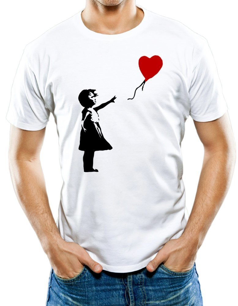 Universal Apparel Men's Banksy Girl Graffiti Art T-Shirt Large White