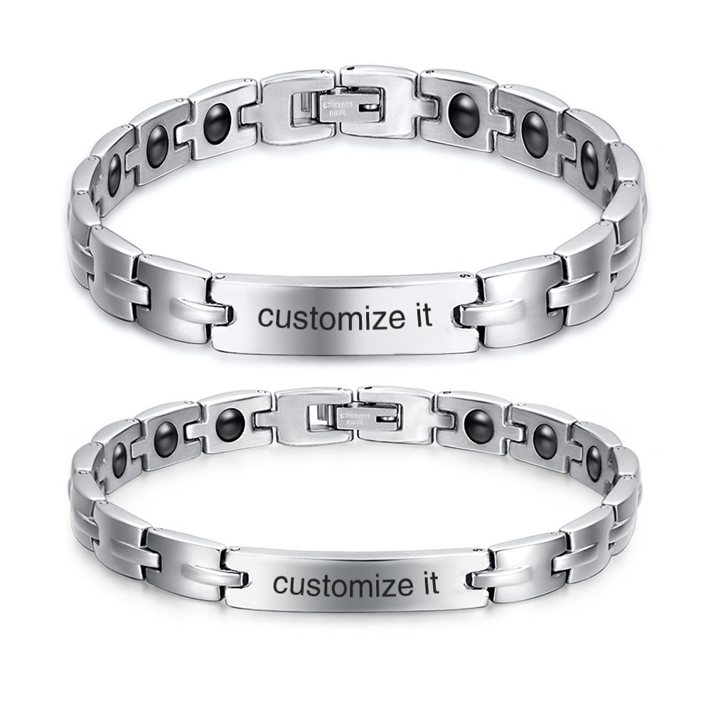 Mealguet Jewelry Personalized Custom Engraved Couple His and Hers Stainless Steel Hematite Health Care Link ID Bracelets Unisex for Men Women